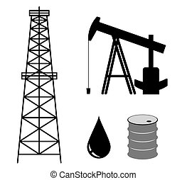 oil derrick with pump and barrel - vector set
