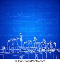 Oil derricks, sketch of drilling park over blueprint. Vector...