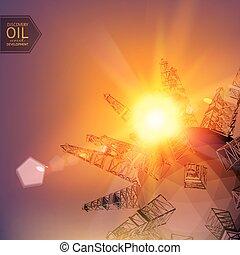 Oil derricks.