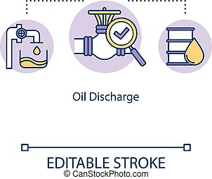 Oil discharge concept icon. Monitoring boat pipeline. Gasoline in pipes. Ship machinery for fuel regulation idea thin line illustration. Vector isolated outline RGB color drawing. Editable stroke