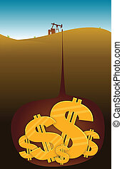 Oil Dollars - Oil well extracting dollars from beneath the...