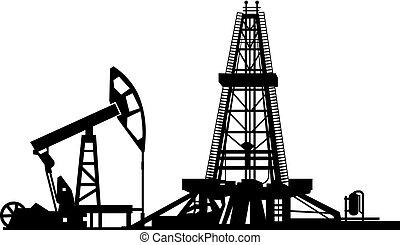 oil drilling derrick - illustration of oil industry drilling...