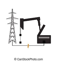 Oil drilling machine and an electrical tower - Oil drilling...