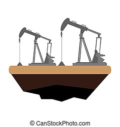 Oil drilling machine. Energy conceptual image. Vector...