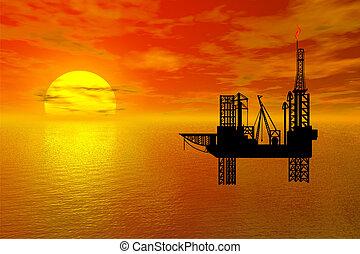 oil-drilling, platfor