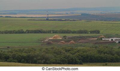 oil drilling rig in field