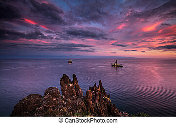 Oil drilling rig on the south cost of Tenerife island on the North Atlantic Ocean