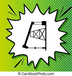Oil drilling rig sign. Black Icon on white popart Splash at green background with white spots. Illustration.