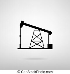 Oil drilling rig sign. Black with shadow on gray.