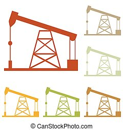 Oil drilling rig sign. Colorful autumn set of icons.