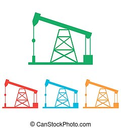 Oil drilling rig sign. Colorfull set isolated on white...