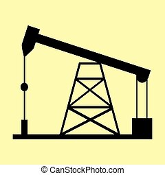 Oil drilling rig sign. Flat style icon vector illustration.