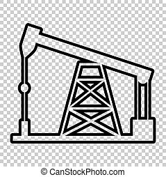 Oil drilling rig sign. Line icon on transparent background