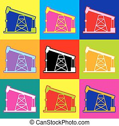 Oil drilling rig sign. Pop-art style colorful icons set with...