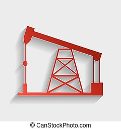 Oil drilling rig sign. Red paper style icon with shadow on...