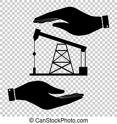 Oil drilling rig sign. Save or protect symbol by hands.