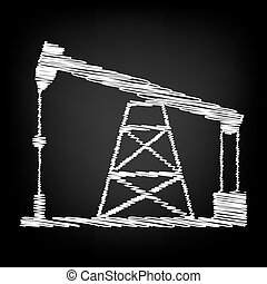 Oil drilling rig sign. Scribble effect on black background