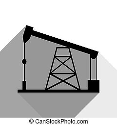 Oil drilling rig sign. Vector. Black icon with two flat gray shadows on white background.