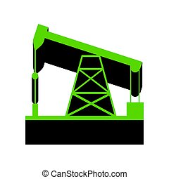 Oil drilling rig sign. Vector. Green 3d icon with black side on
