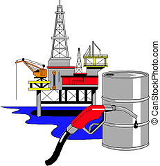Oil drilling rig, vector illustration