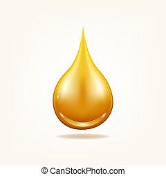 Oil drop organic. Yellow liquid droplet.