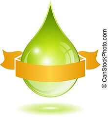 Oil drop with ribbon, vector illustration