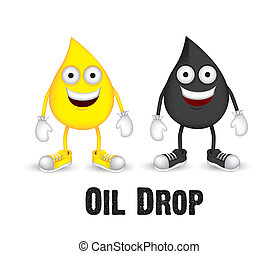 oil drops - Illustration of oil drops with shoes and gloves,...