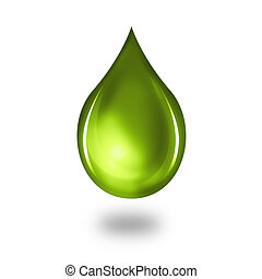 Oil drops on white background