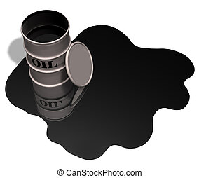 Oil Drum Oil Spill Copyspace - Oil drum / barrel and oil...