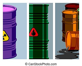 Oil drums container fuel cask storage rows steel barrels capacity tanks card metal old bowels chemical brochure vector illustration