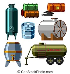 Oil drums container fuel cask storage rows steel barrels capacity tanks natural metal old bowels chemical vessel vector illustration