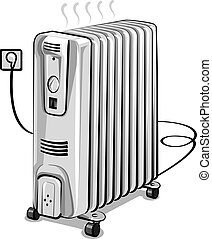 oil electric heater - illustration of white metal oil...