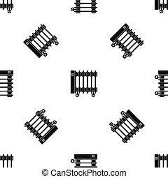 Oil electric heater on wheels pattern seamless black
