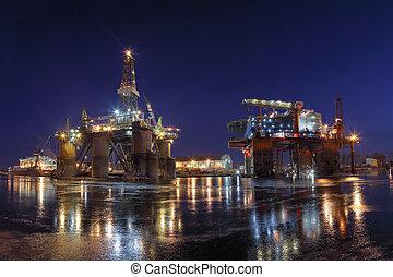 Oil Empire - Repair of the oil rig in the shipyard.