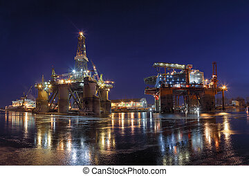 Oil Empire - Repair of the oil rig in the shipyard.