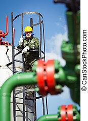 Oil engineer inside fuel industry