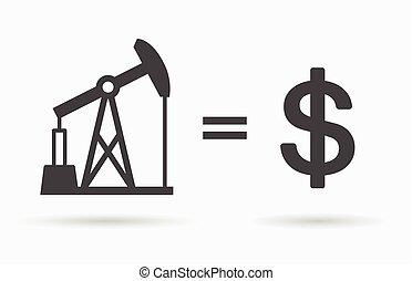Oil equals dollar symbol - value of oil concept icon.
