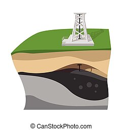 Oil extraction cartoon icon