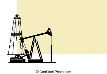 Oil extraction. - The illustration depicts the silhouettes...