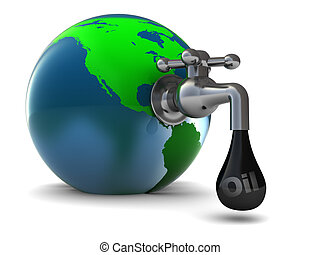 oil faucet - abstract 3d illustration of earth globe with...