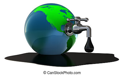 oil faucet - abstract 3d illustration of oil faucet in earth...