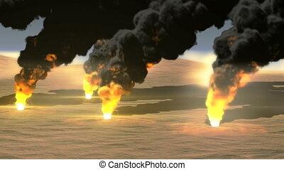 Oil Field burning 4k