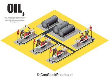 Oil field extracting crude oil. Oil pump. Oil industry equipment. Flat 3d Vector isometric illustration.