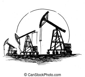 Ink black and white drawing of an oil field