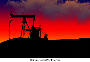 Oil field on a dramatic sunset