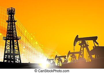 Oil field over sunset. Oil derrick infographic with stages...