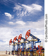 Pump jacks on a oil field
