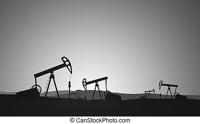 Oil Field - Silhouettes of oil rigs on the horizon