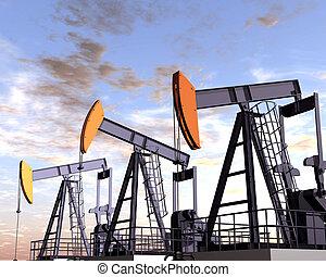 Oil Field - Illustration of three oil rigs in the desert