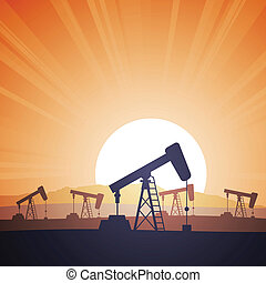 Vector illustration of an oil field with oil rigs on the evening.